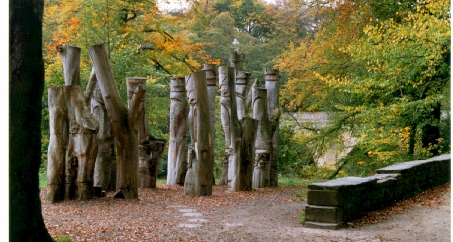Carved tree trunks