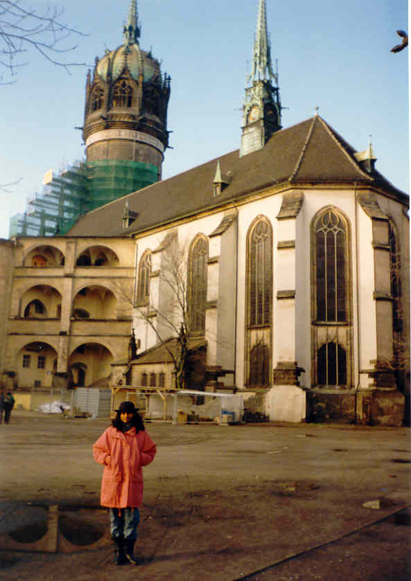 Linda at Wittenberg church, where Martin Luther is buried